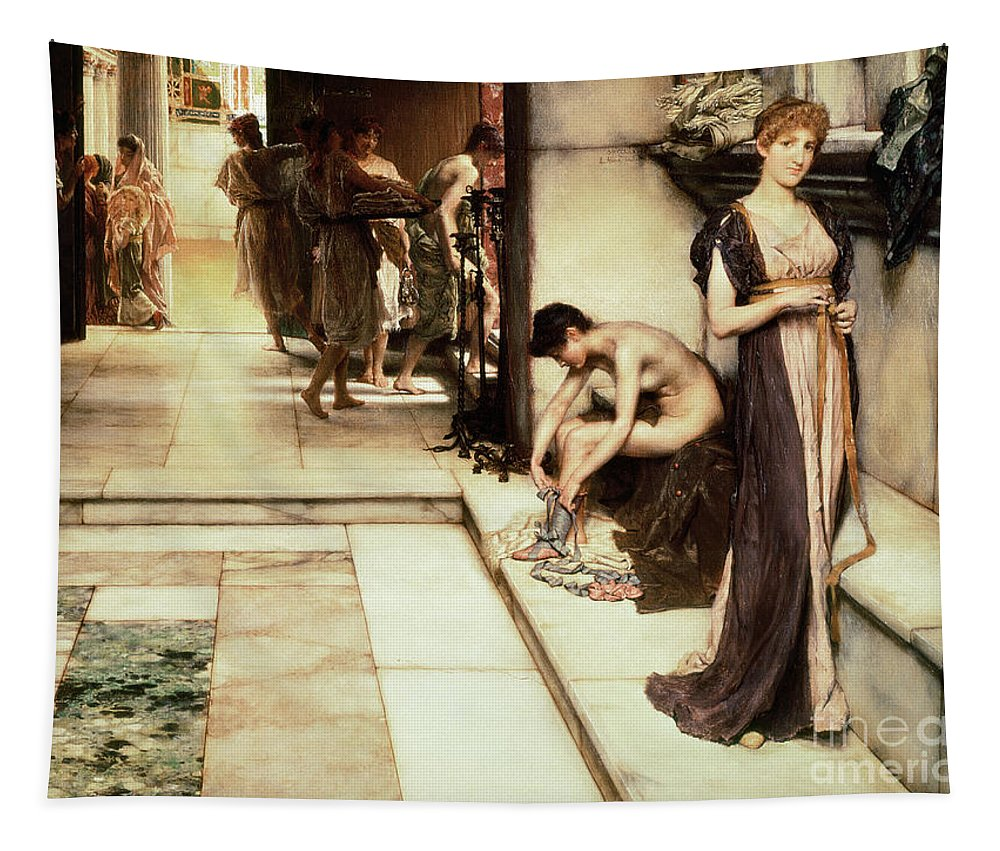 Apodyterium Tapestry featuring the painting An Apodyterium by Sir Lawrence Alma-Tadema
