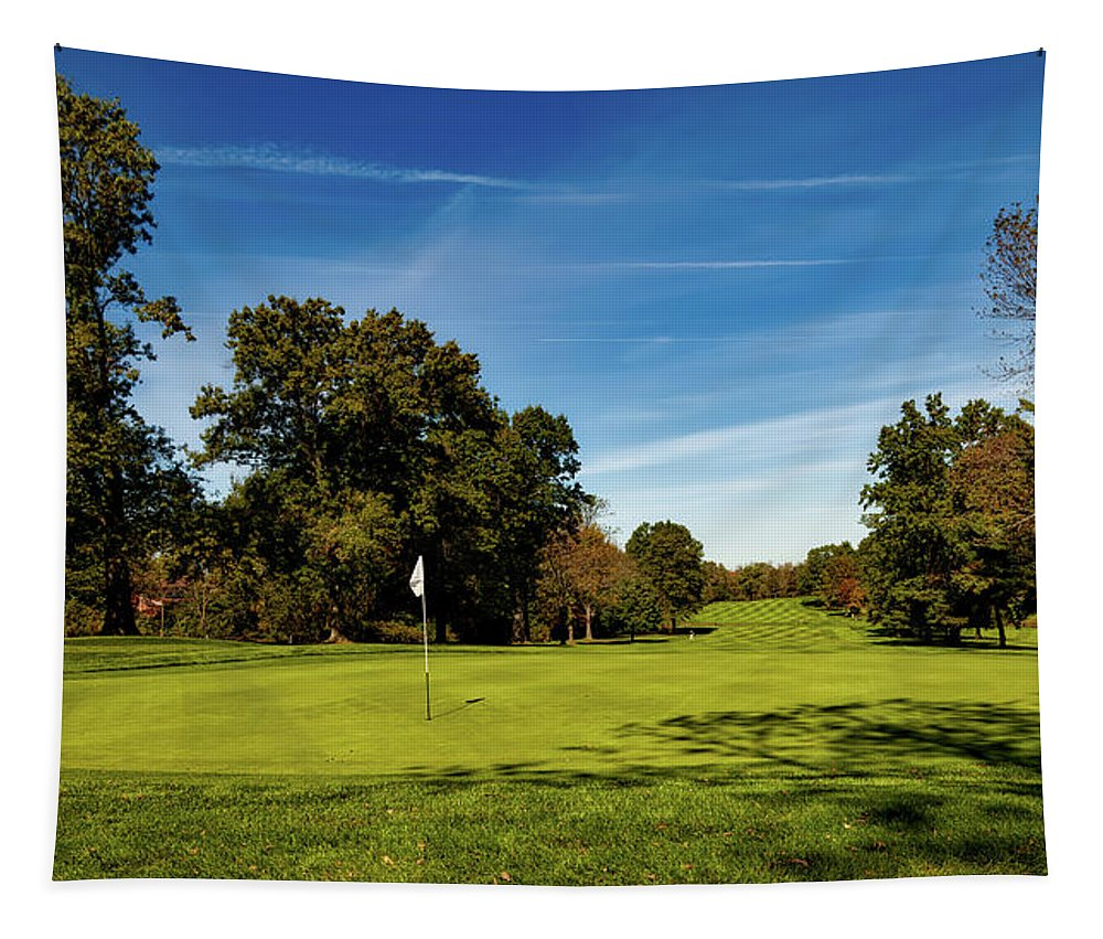 Wethersfield Tapestry featuring the photograph An Autumn Golf Day by Mountain Dreams