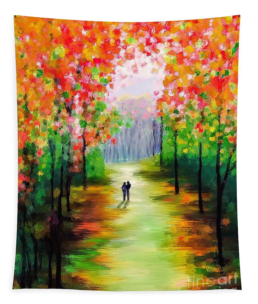 Autumn Tapestry featuring the painting An Autumn Stroll by Tina LeCour