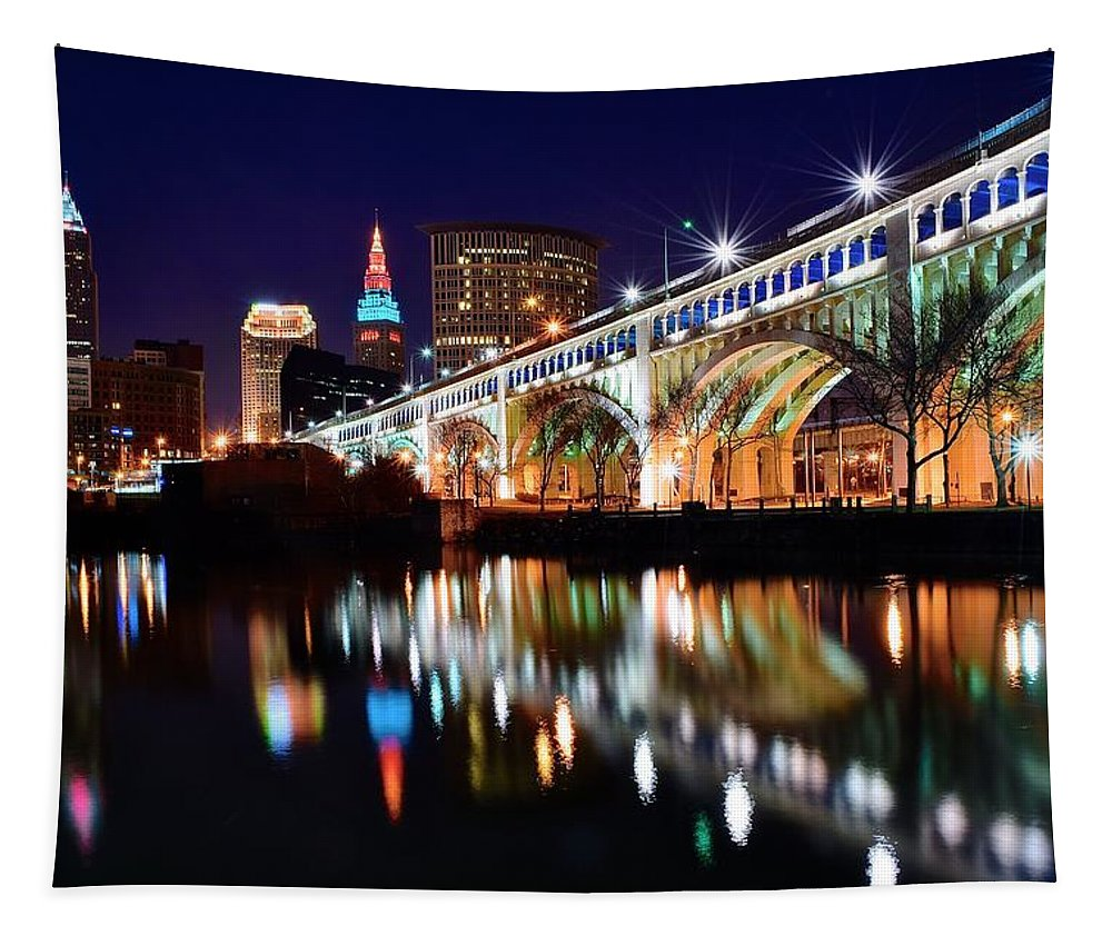 Skyline Tapestry featuring the photograph An Early Evening In Cleveland by Frozen in Time Fine Art Photography