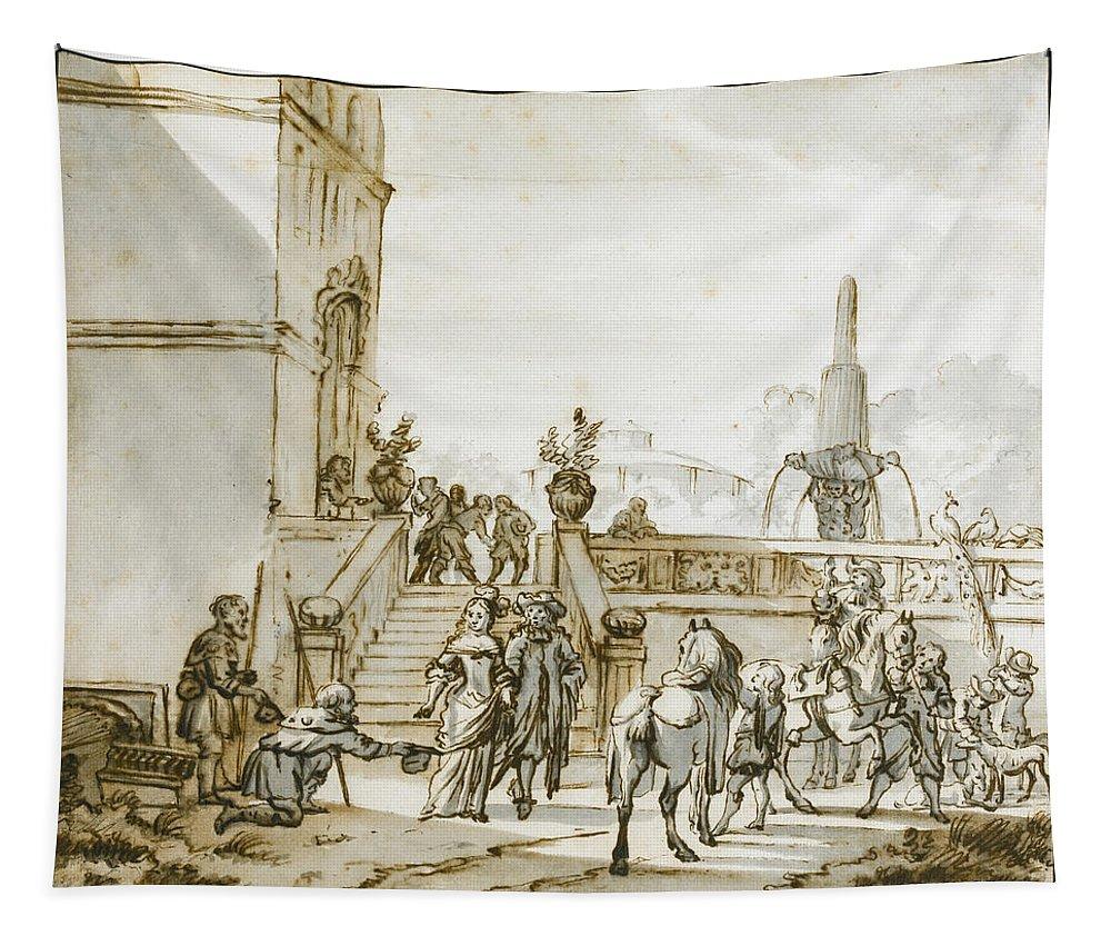 Jan Verkolje Tapestry featuring the drawing An Elegant Couple About To Go Riding by Jan Verkolje