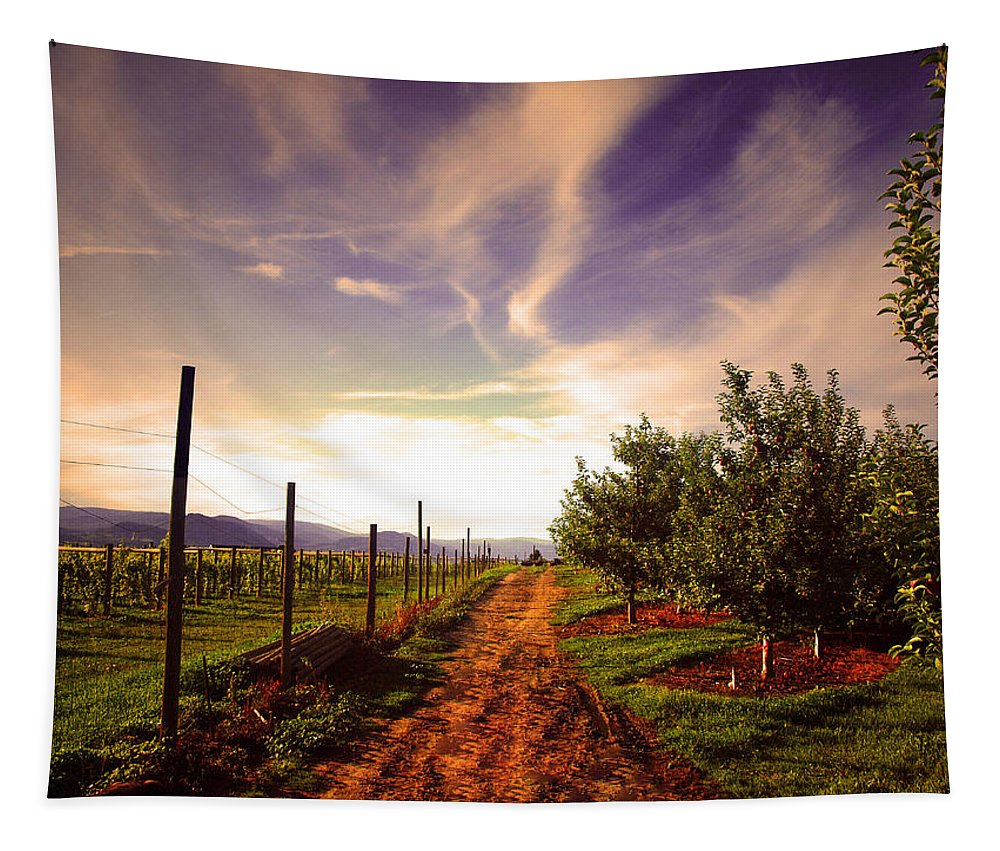 Road Tapestry featuring the photograph An Evening By The Orchard by Tara Turner