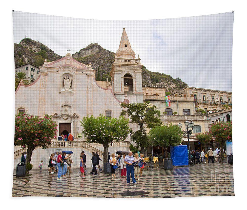 Rain Tapestry featuring the photograph An Iffy Day In Taormina by Madeline Ellis