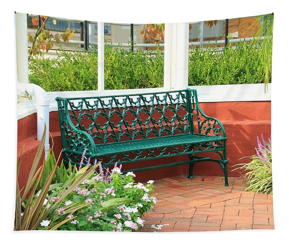 Fountain Tapestry featuring the photograph An Inviting Bench by Karen Silvestri