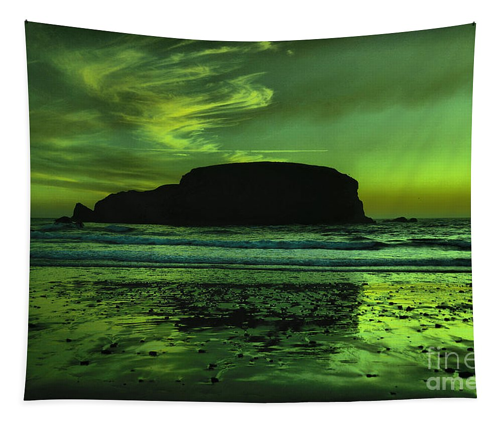 Rocks Tapestry featuring the photograph An Ocean Sunset by Jeff Swan