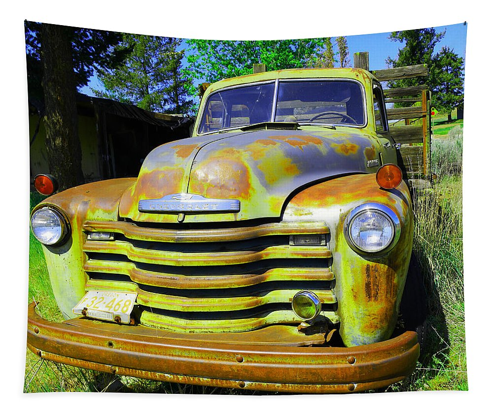 Truck Farm Truck Tapestry featuring the photograph An Old Truck On The Farm by Jeff Swan