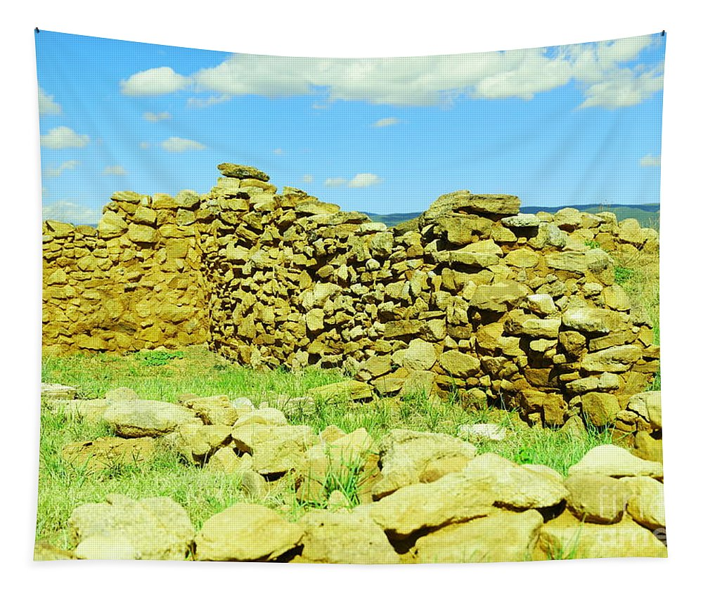 Tapestry featuring the photograph An Old Wall At The Pecos Ruins by Jeff Swan