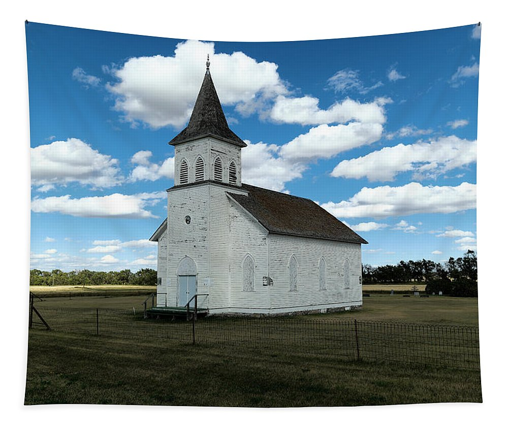 Church Tapestry featuring the photograph An Old Wooden Church by Jeff Swan