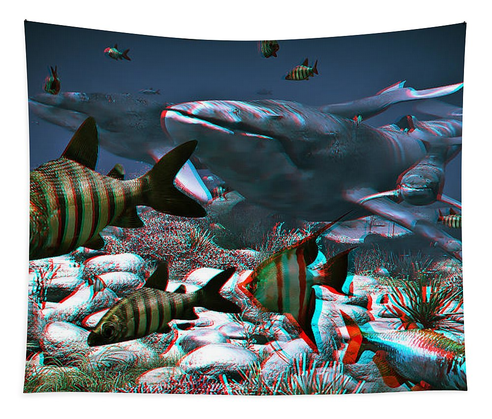 Whale Tapestry featuring the digital art Anaglyph Whales by Ramon Martinez