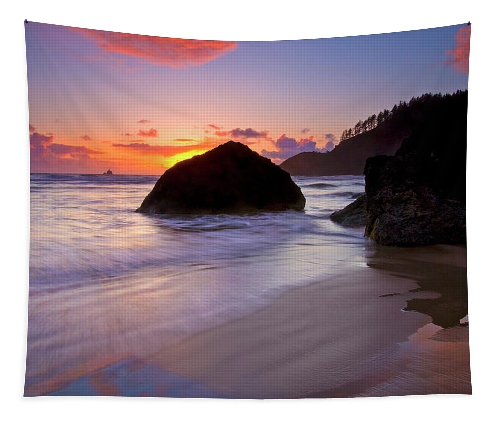 Sunset Tapestry featuring the photograph Anchoring The Beach by Mike Dawson