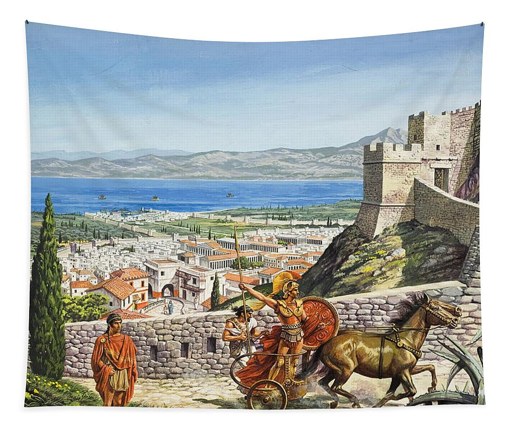 Corinth Tapestry featuring the painting Ancient Corinth by Roger Payne