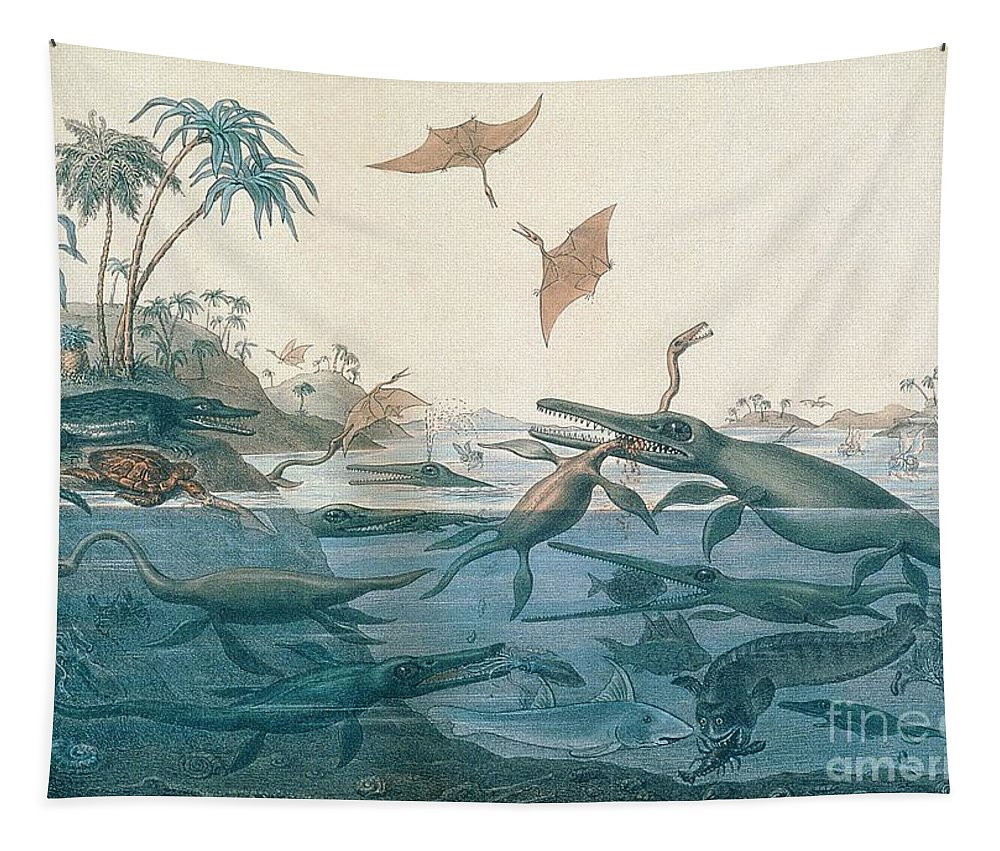 Duria Antiquior (ancient Dorset) Depicting A Imaginative Reconstruction Of The Life Of The Jurassic Seas Tapestry featuring the drawing Ancient Dorset by Henry Thomas De La Beche