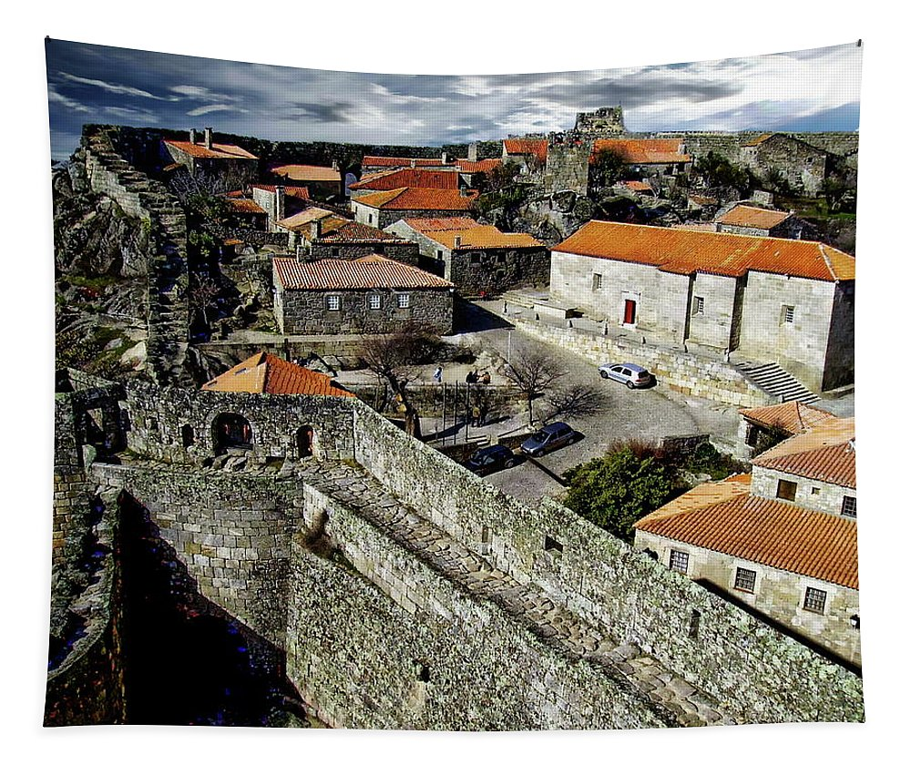 Sky Tapestry featuring the photograph Ancient Portuguese Cities by Anthony Dezenzio