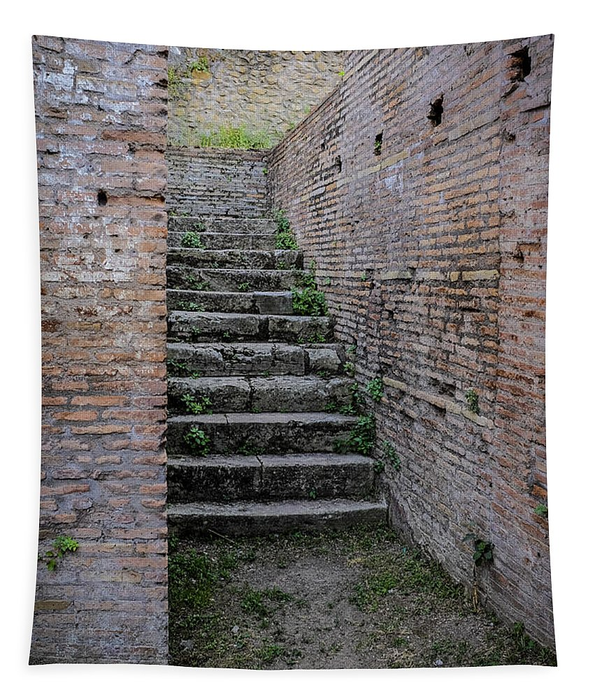 Staircase Tapestry featuring the photograph Ancient Stairs Rome Italy by Edward Fielding