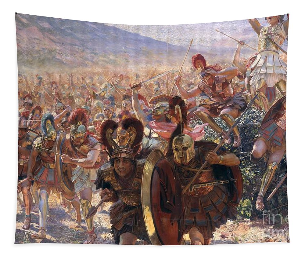 Ancient Warriors (oil On Canvas) By Georges Marie Rochegrosse (1859-1938) Tapestry featuring the painting Ancient Warriors by Georges Marie Rochegrosse