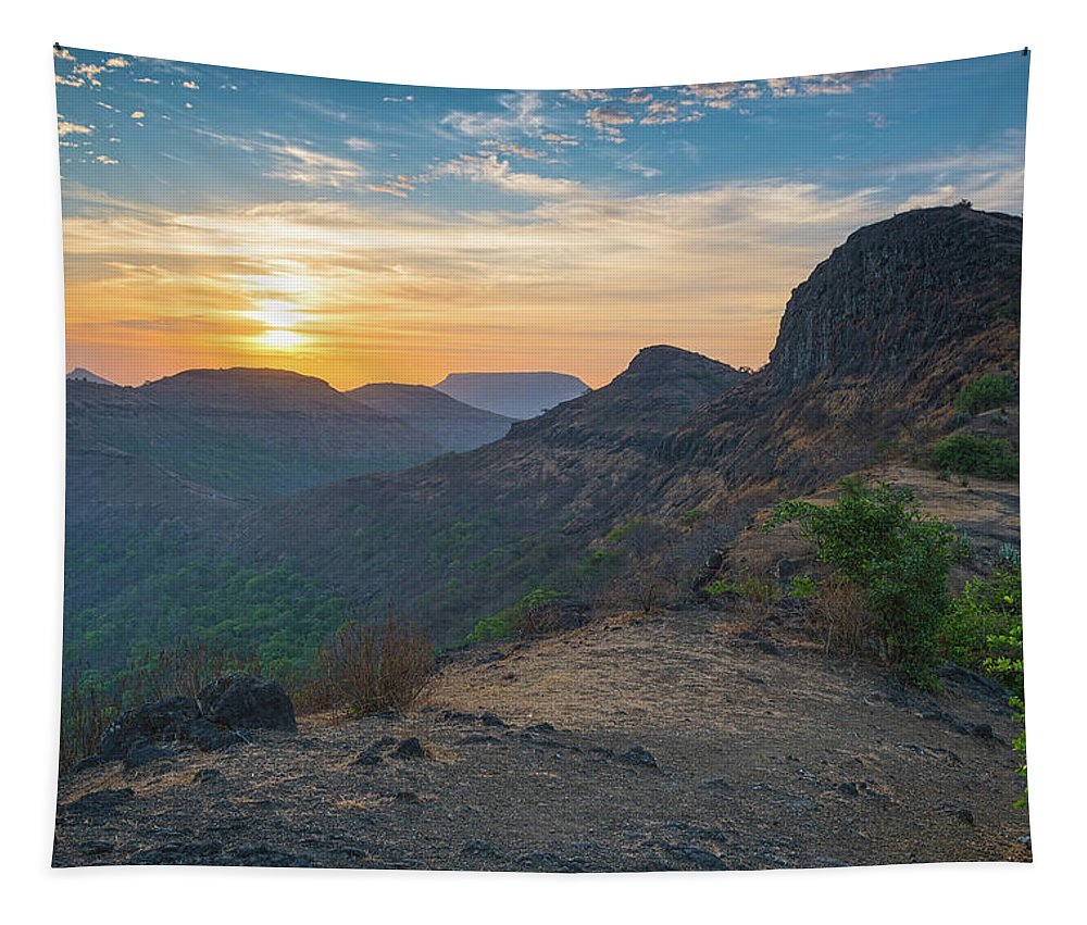 Sunrise Tapestry featuring the photograph And The Day Begins by Jatinkumar Thakkar