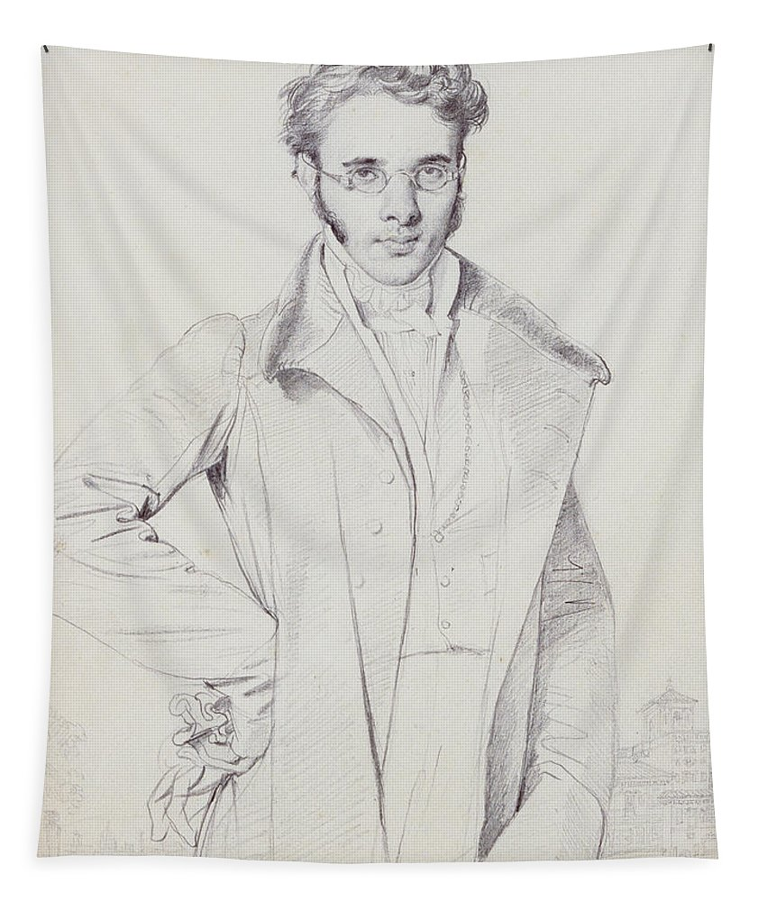 Andr�-beno�t Barreau Tapestry featuring the drawing Andre-benoit Barreau, Dit Taurel by Jean Auguste Dominique Ingres