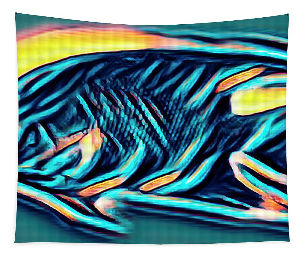 Florida Tapestry featuring the photograph Angel Fish In Turquoise Tones by Debra and Dave Vanderlaan