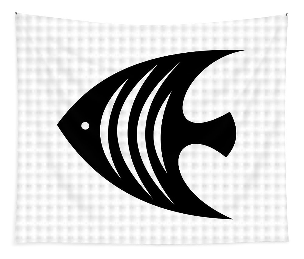Mid Century Modern Tapestry featuring the digital art Angel Fish by Donna Mibus