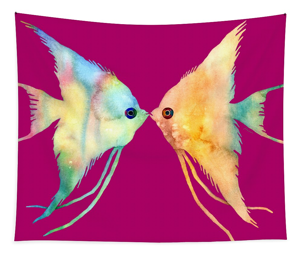 Fish Tapestry featuring the painting Angelfish Kissing by Hailey E Herrera