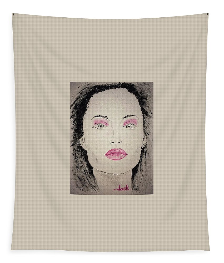 Maleficent Tapestry featuring the painting Angelina Jolie As Maleficent by Jack Bunds