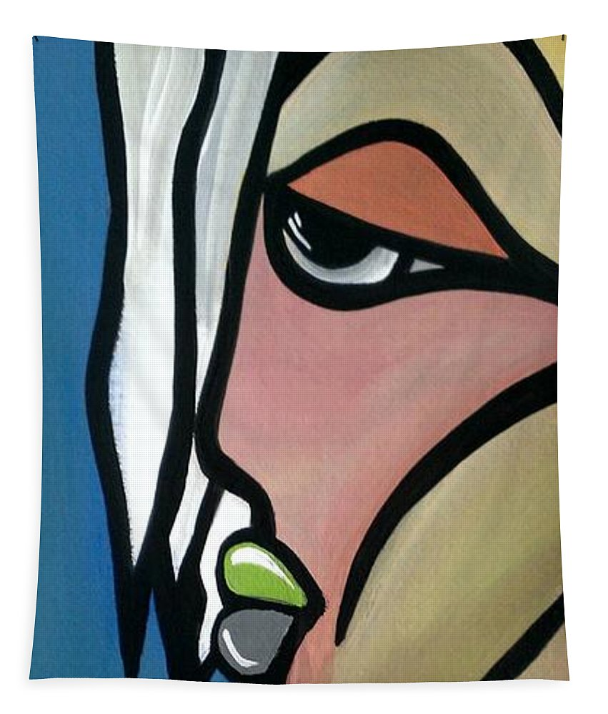 Face Tapestry featuring the painting Angelo by LKB Art and Photography