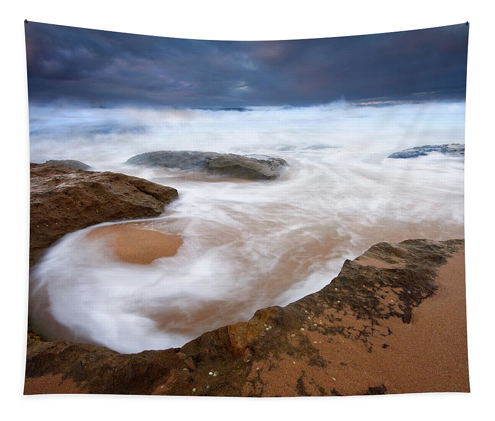 Bowl Tapestry featuring the photograph Angry Sea by Mike Dawson