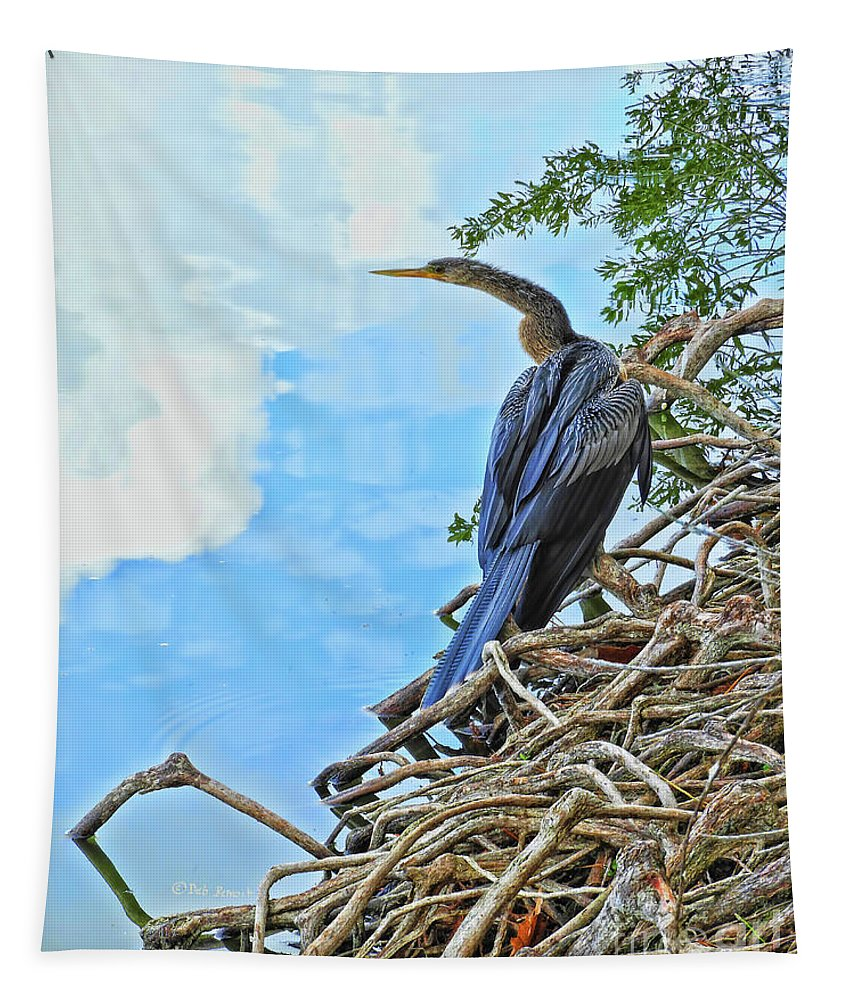 Wildlife Tapestry featuring the photograph Anhinga In The Clouds by Deborah Benoit
