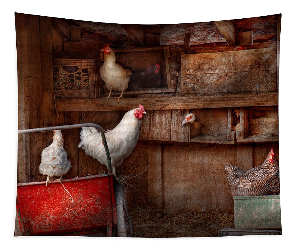 Chicken Tapestry featuring the photograph Animal - Chicken - The Duck Is A Spy by Mike Savad