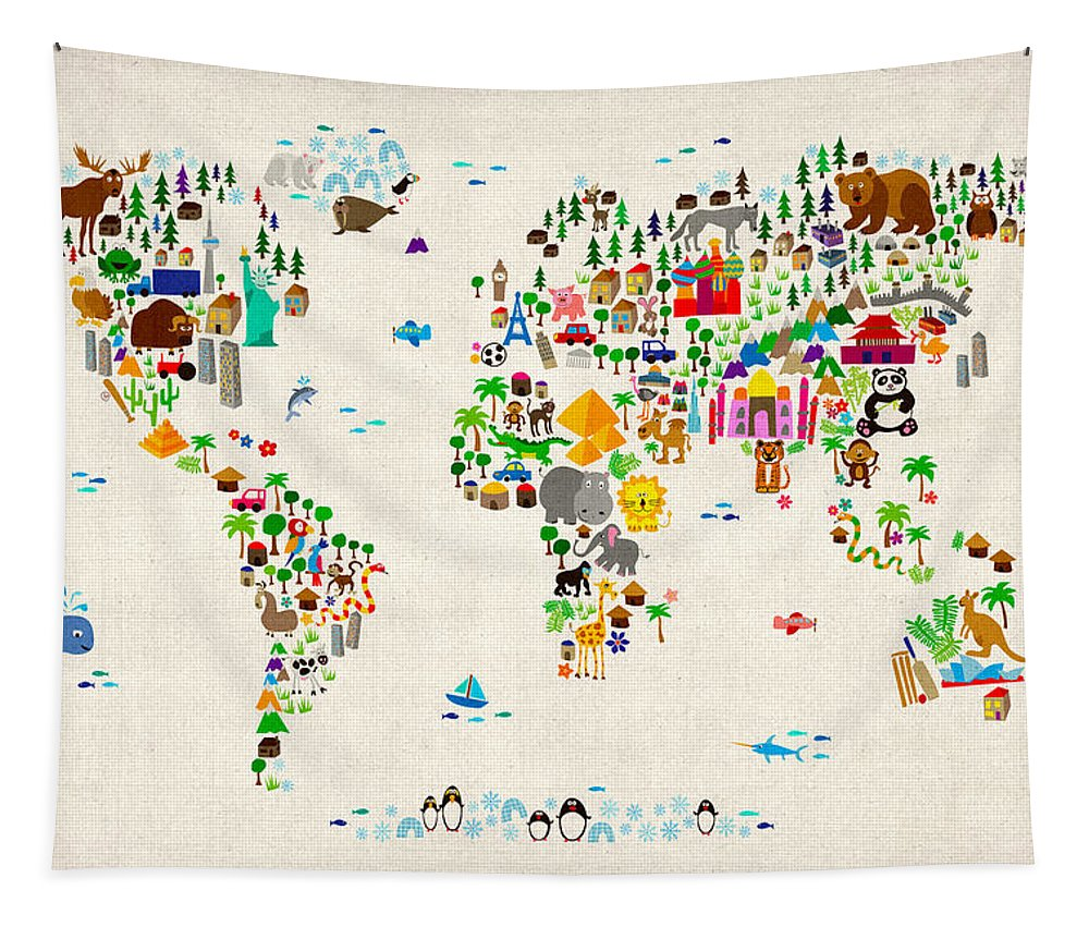 d4de285d1bb Animal Map Of The World For Children And Kids Tapestry for Sale by Michael  Tompsett