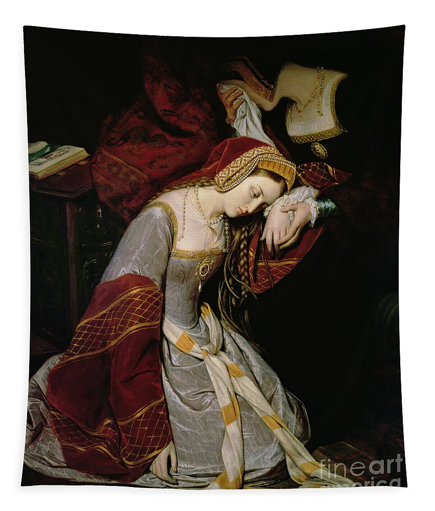 Anne Tapestry featuring the painting Anne Boleyn in the Tower by Edouard Cibot