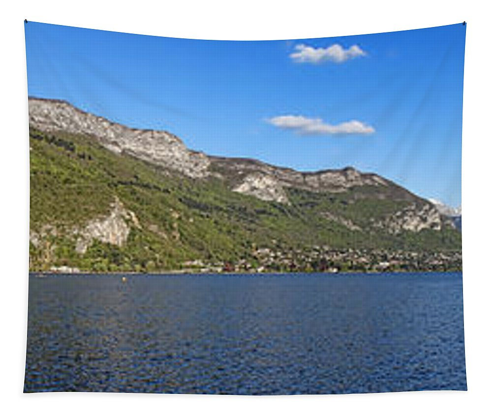 Annecy Tapestry featuring the photograph Annecy Lake Panorama by Olivier Le Queinec