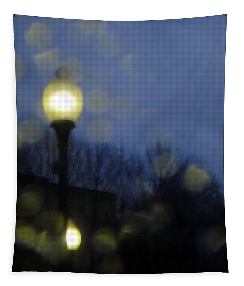Abstract Tapestry featuring the photograph Another Rainy Night by Linda Galok