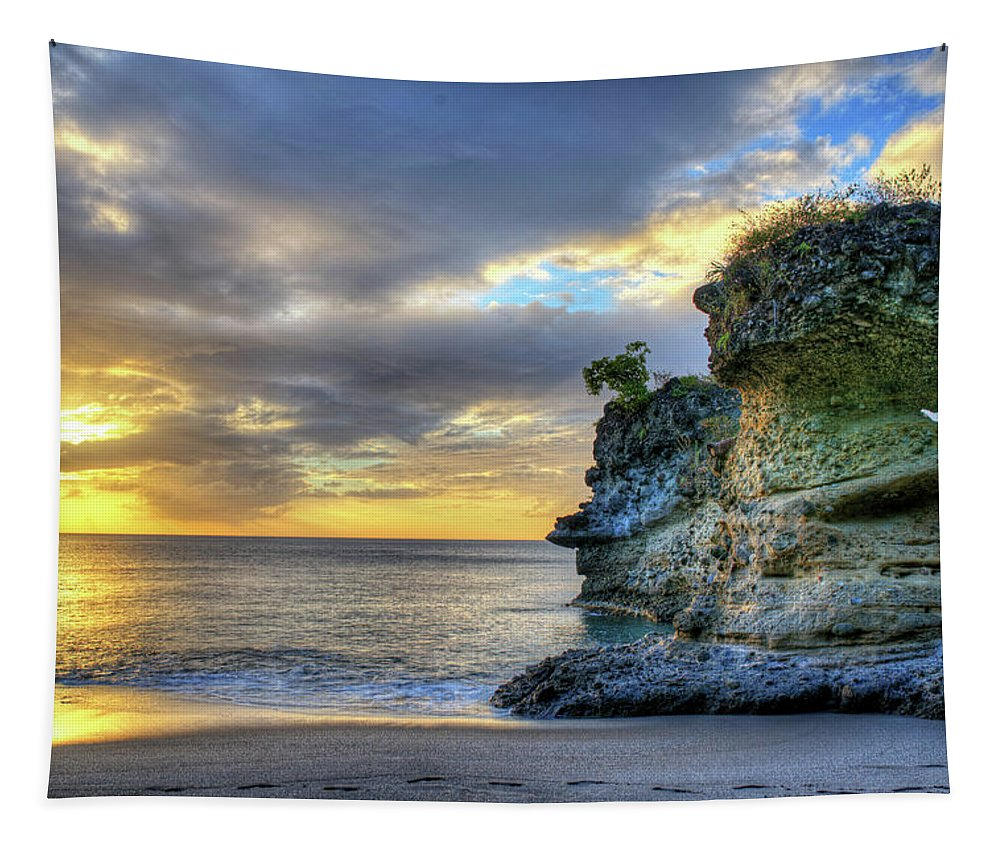 Anse Tapestry featuring the photograph Anse Mamin Rock Formation At Sunset Saint Lucia Caribbean Sunset by Toby McGuire