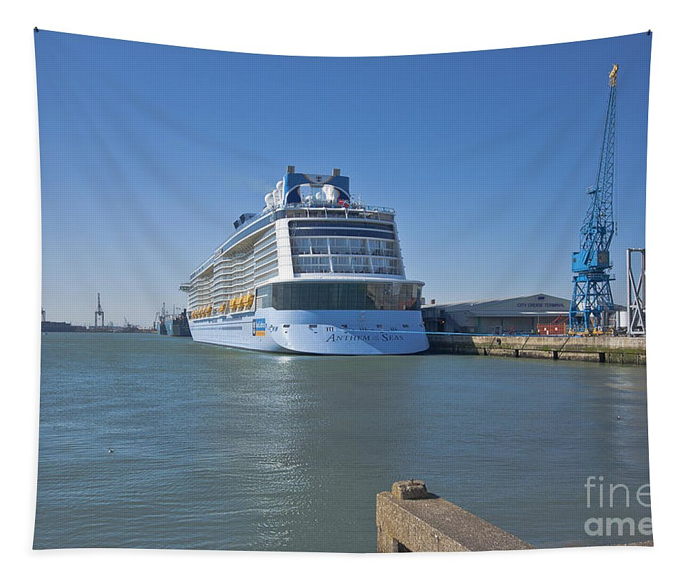 Anthem Of The Seas Tapestry featuring the photograph Anthem Of The Seas Southampton by Terri Waters