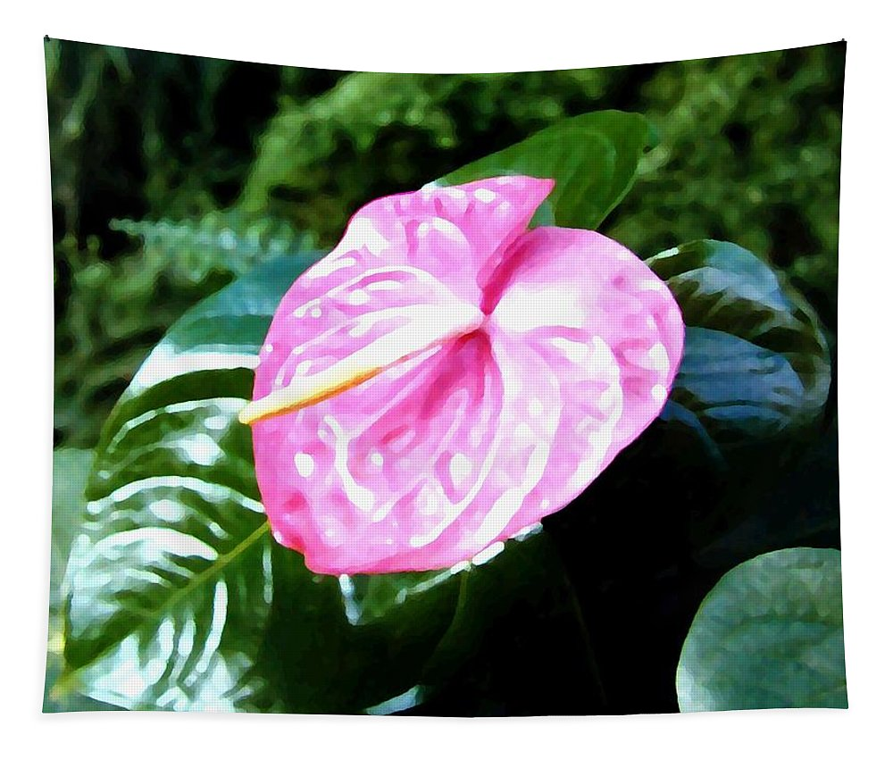 1986 Tapestry featuring the digital art Anthurium by Will Borden