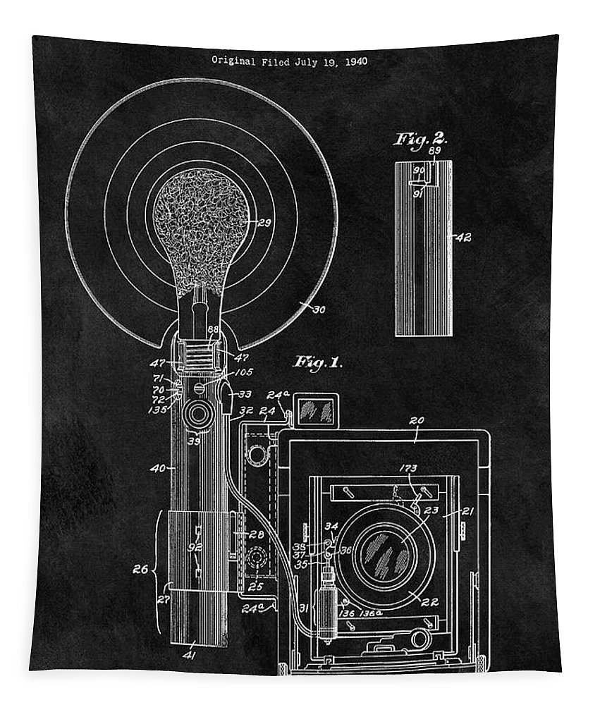 1943 Camera Flash Patent Tapestry featuring the drawing Antique Camera Flash Patent by Dan Sproul