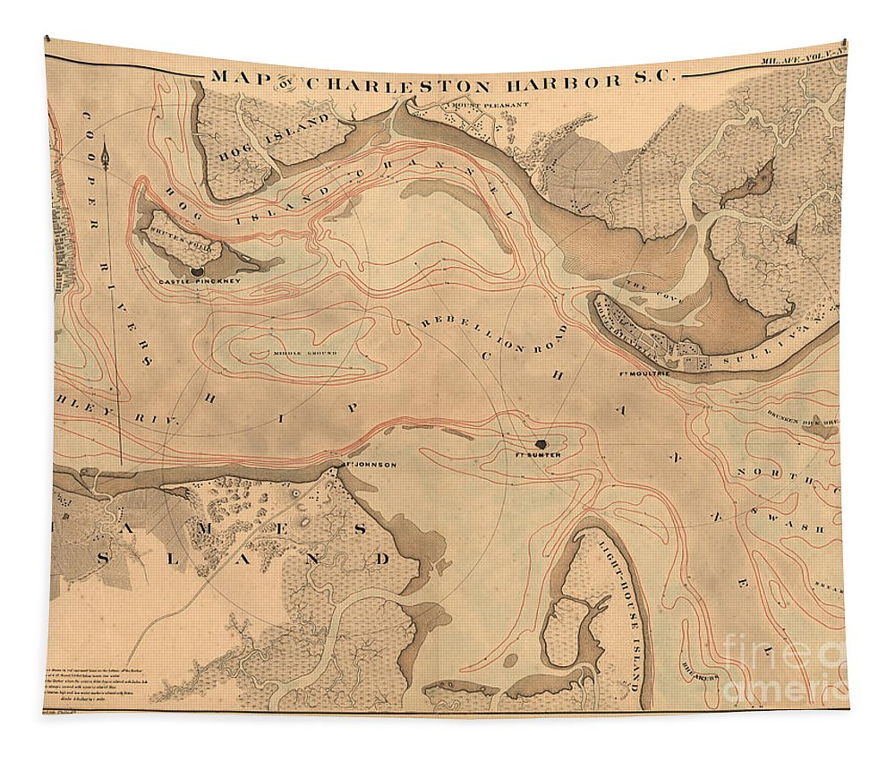 Map Tapestry featuring the photograph Antique Charleston Harbor by Dale Powell