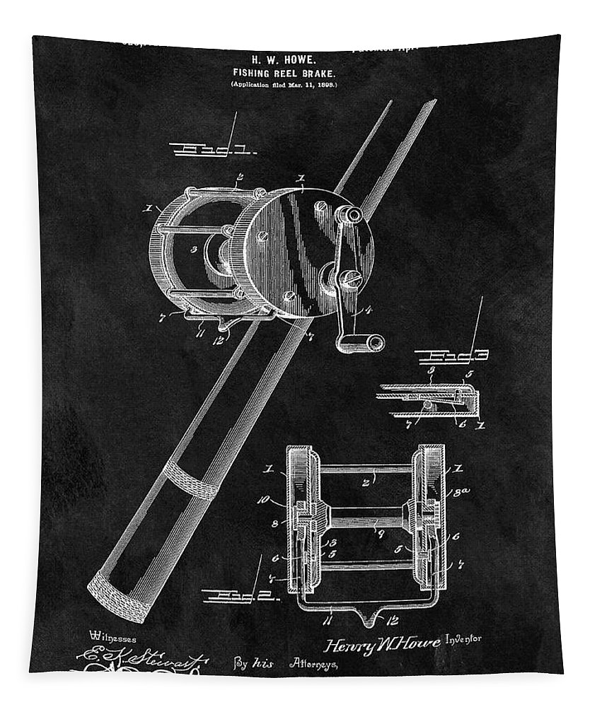 Tapestry featuring the drawing Antique Fishing Reel Patent by Dan Sproul