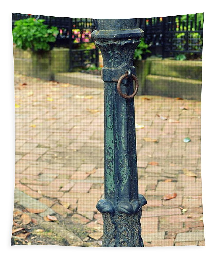 Savannah Tapestry featuring the photograph Antique Hitching Post by Linda Covino