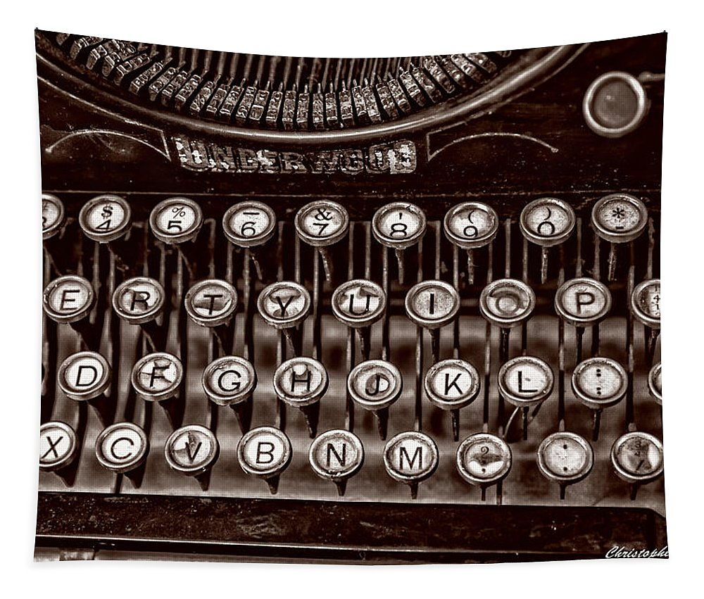 Christopher Holmes Photography Tapestry featuring the photograph Antique Keyboard - Sepia by Christopher Holmes