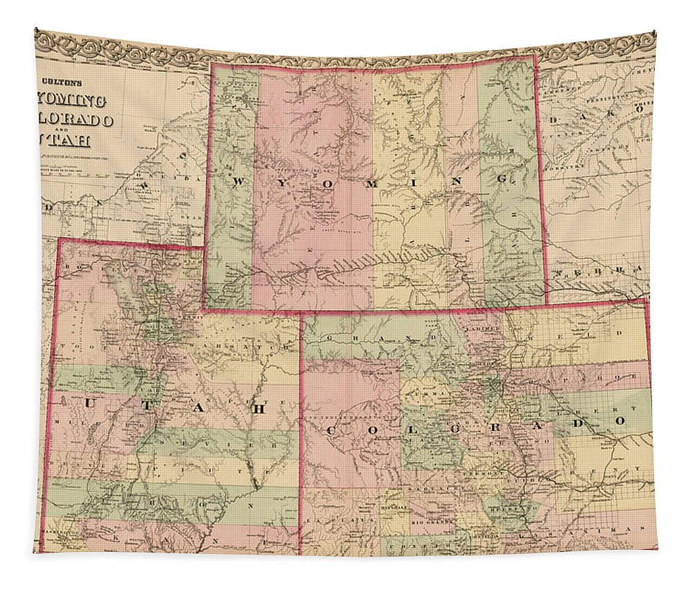 Antique Map - Colton\'s Wyoming Colorado And Utah 1876 Tapestry