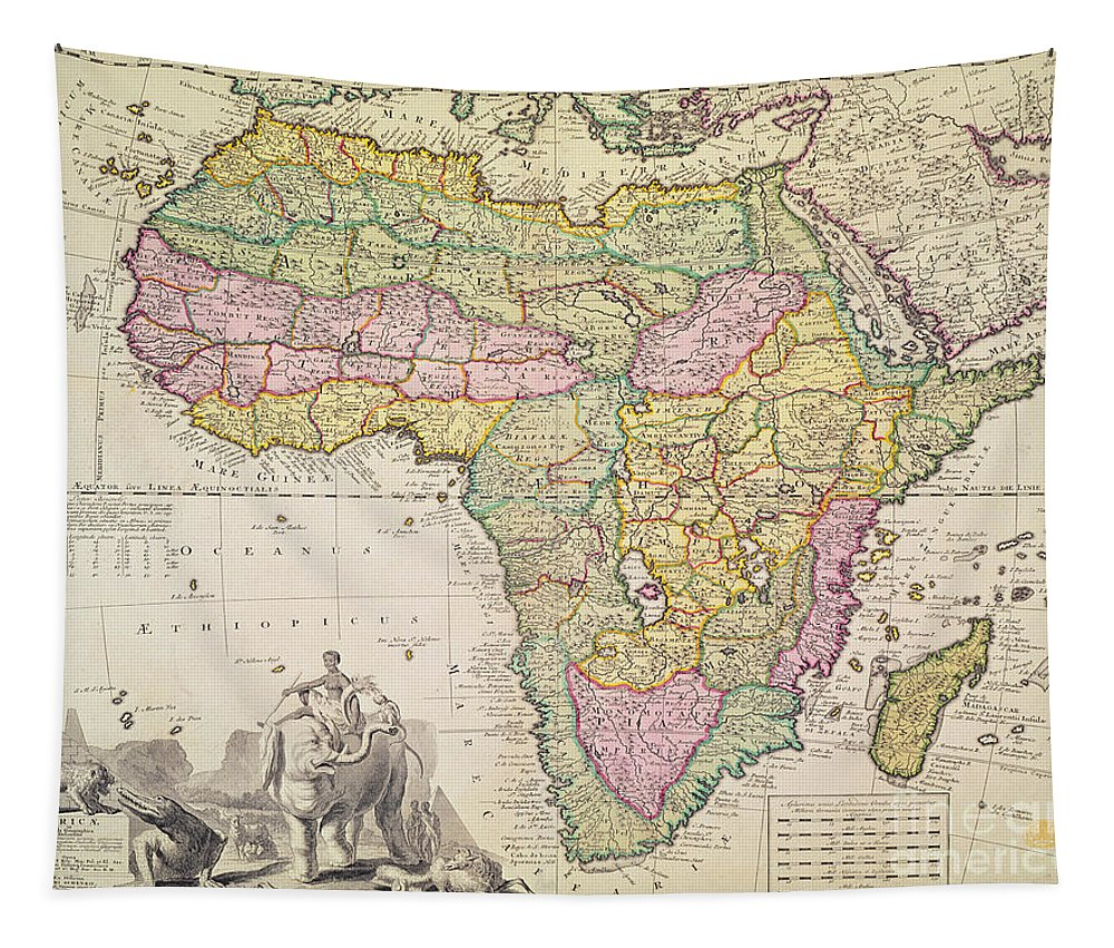 Geography Tapestry featuring the drawing Antique Map Of Africa by Pieter Schenk