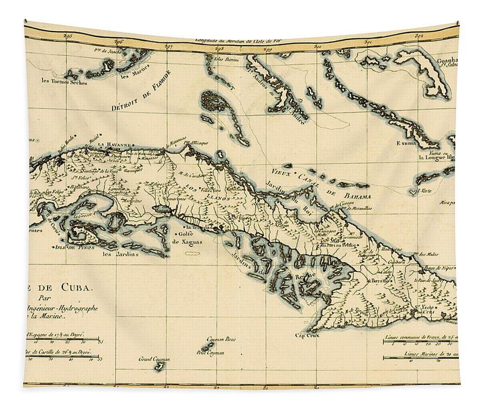 Maps Tapestry featuring the drawing Antique Map of Cuba by Guillaume Raynal
