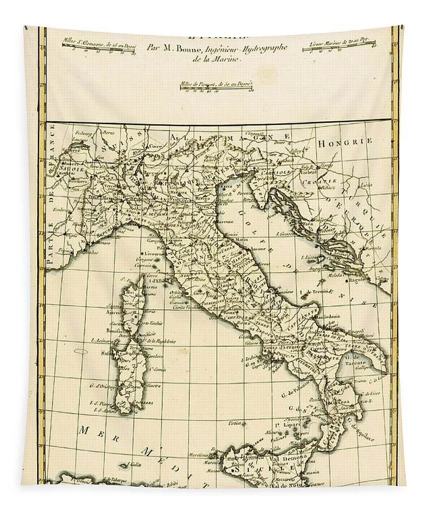 Maps Tapestry featuring the drawing Antique Map of Italy by Guillaume Raynal