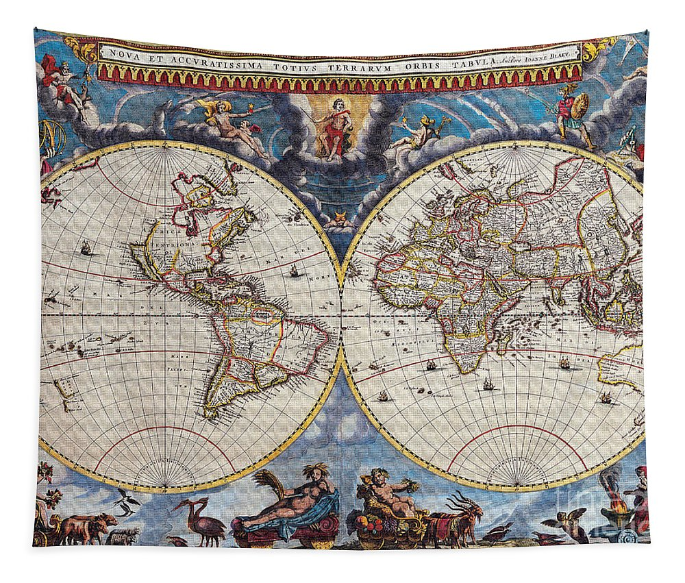Antique Maps Of The World Tapestry featuring the digital art Antique Maps Of The World Joan Blaeu C 1662 by R Muirhead Art