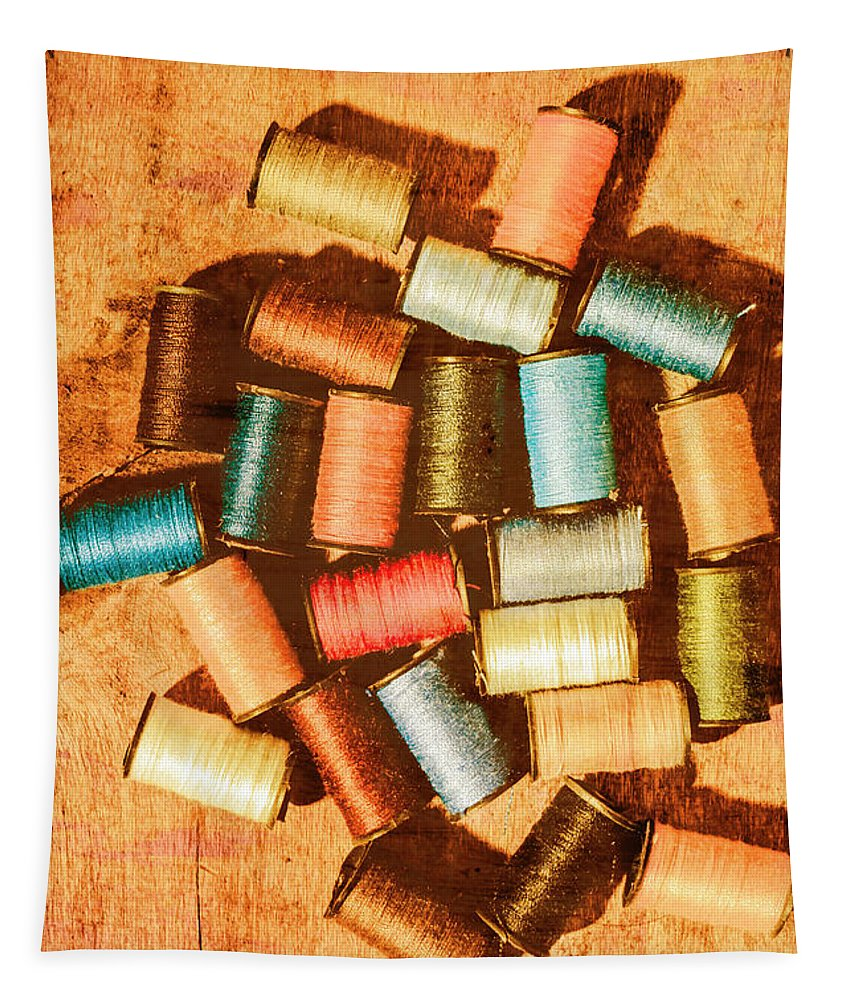 Sewing Tapestry featuring the photograph Antique Spools And Thread by Jorgo Photography - Wall Art Gallery