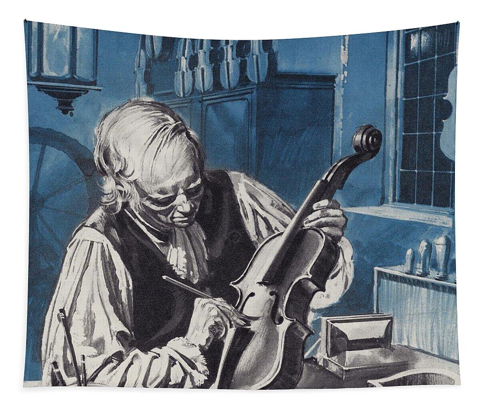 Antonio Stradivari Tapestry featuring the painting Antonio Stradivari by English School