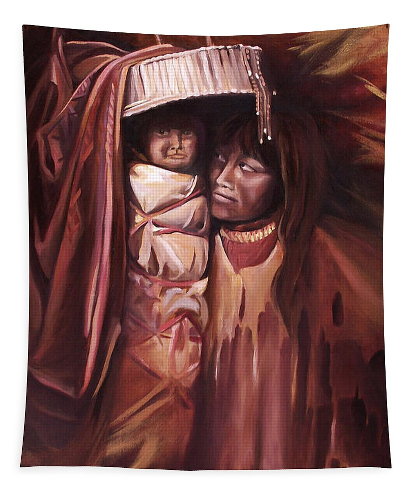 Native American Tapestry featuring the painting Apache Girl and Papoose by Nancy Griswold