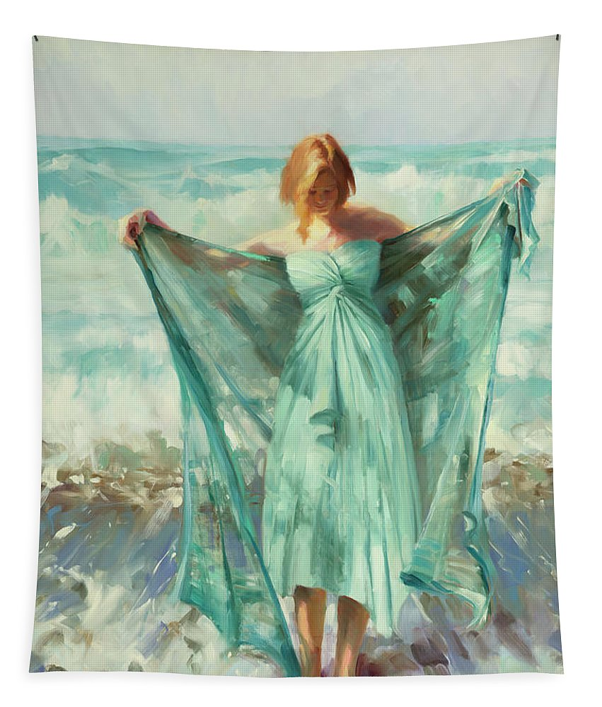 Ocean Tapestry featuring the painting Aphrodite by Steve Henderson